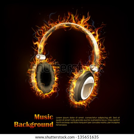 illustration of headphone on fire flame for music design - stock vector