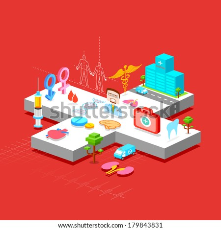 illustration of Healthcare and Medical background in flat style - stock vector
