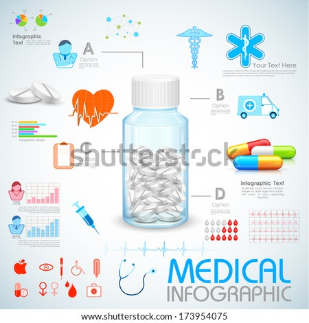 illustration of Healthcare and Medical Infographics - stock vector