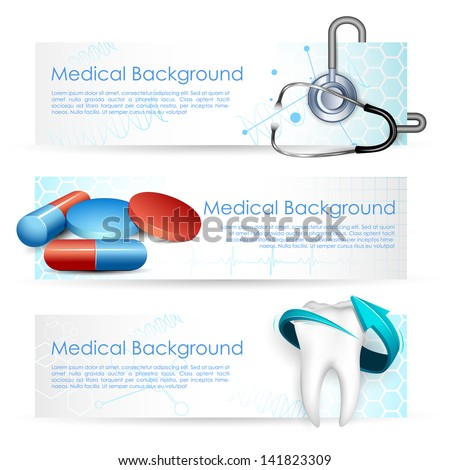 illustration of Healthcare and Medical with medicine and stethoscope - stock vector