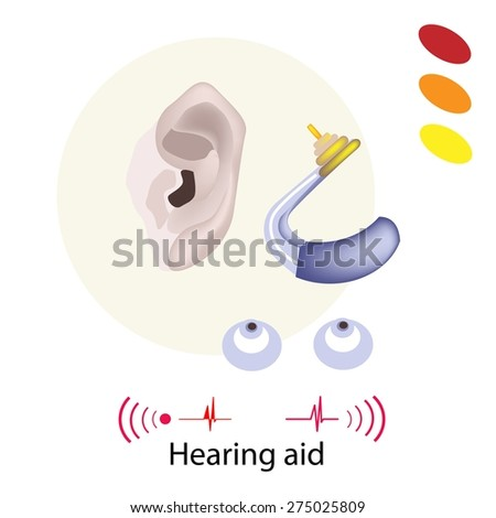 Illustration of Hearing Aid or Deaf Aid, A Device Which Amplifies Sound for The Wearer to Hear Better.  - stock vector