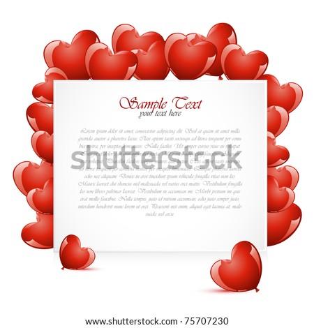 illustration of heart shape balloon around card - stock vector