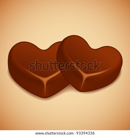 illustration of heart shaped chocolate on abstract background - stock vector