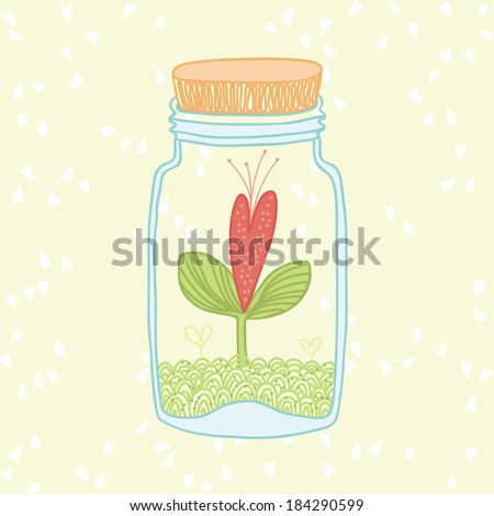Illustration of heart sprout in the glass jar - stock vector