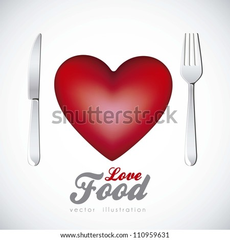 Illustration of heart with cutlery, vector illustration - stock vector