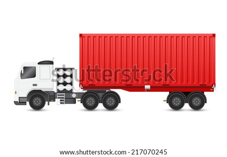 Illustration of heavy truck and container isolated on white background. - stock vector