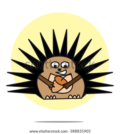 Illustration of hedgehog with yellow circle background - stock vector