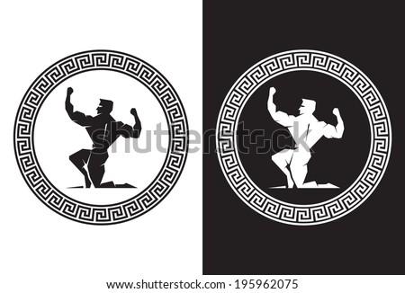 Illustration of Hercules inside a Greek Key back view - stock vector