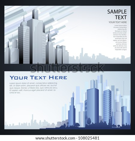 illustration of high modern building in cityscape template - stock vector
