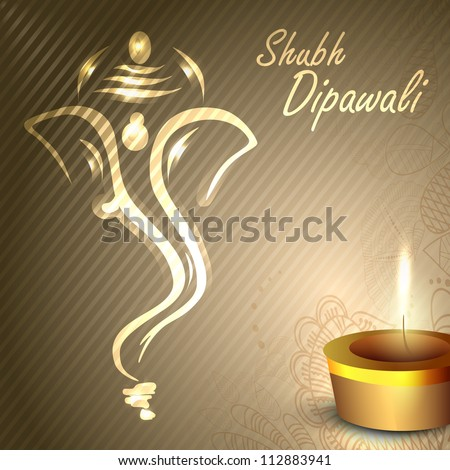 Illustration of Hindu Lord Ganesha with illuminated oil lamp background for Diwali festival in India. EPS 10. - stock vector