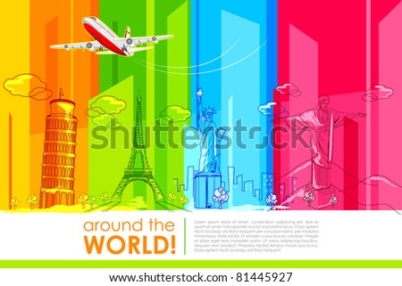 illustration of historic monument with airplane for around the world travel - stock vector