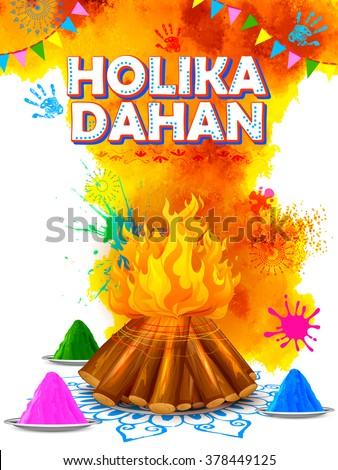 illustration of Holika Dahan (Burning Holika, the devil) background for Holi celebration - stock vector