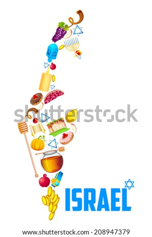 illustration of holy object forming map of Israel - stock vector