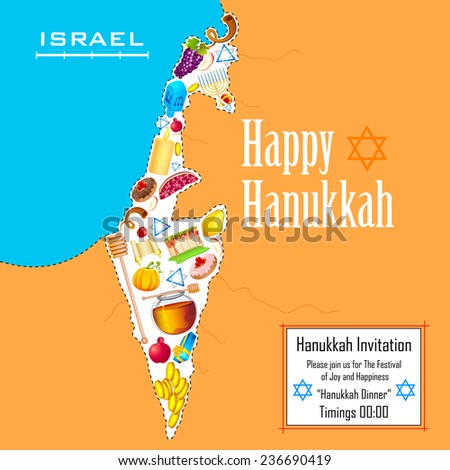 illustration of holy object forming map of Israel in Hanukkah background - stock vector