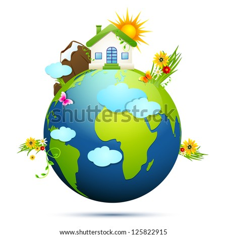 illustration of home and tree around globe showing clean earth - stock vector