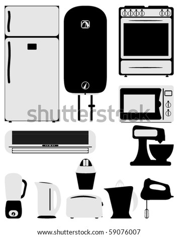 Illustration of home appliance icons - stock vector
