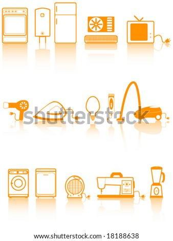 Illustration of home appliances - stock vector