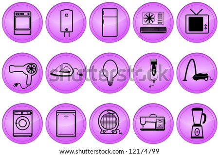 Illustration of home appliances buttons - stock vector