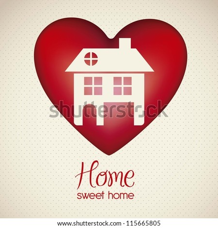 Illustration of home icon on heart, house silhouettes on white background, vector illustration - stock vector