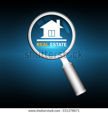 Illustration of home model and magnifier on dark background. - stock vector