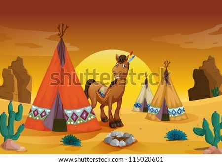 illustration of horse and tent house in a desert - stock vector