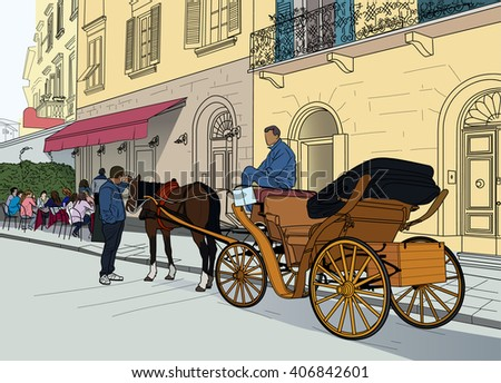 Illustration of horse carriages in the streets of the Italian city
