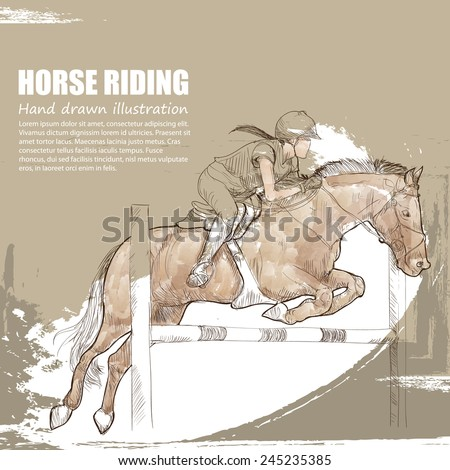 illustration of horse riding. - stock vector