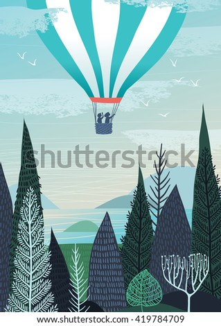Illustration of hot air balloon, flying over the landscape