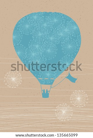 Illustration of hot air balloon with dandelions - stock vector