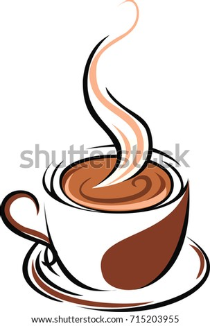 Ilration Of Hot Coffee Brown Cup And Isolated With Smoke Icon Vector