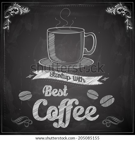 illustration of hot coffee on chalkboard - stock vector