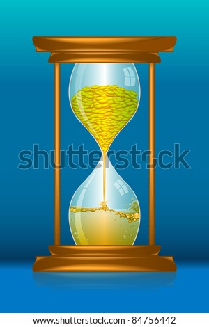 illustration of hour glass with gold coin and petrol showing high fuel price