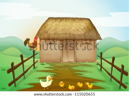 illustration of house and ducks in a beautiful nature - stock vector