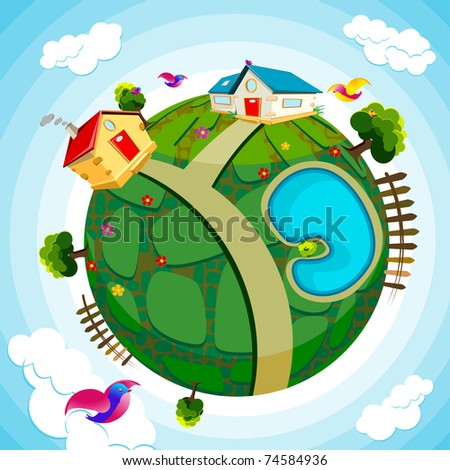 illustration of house and river on green earth - stock vector