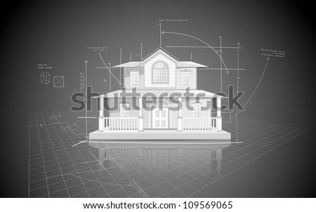 illustration of house model on blue print - stock vector