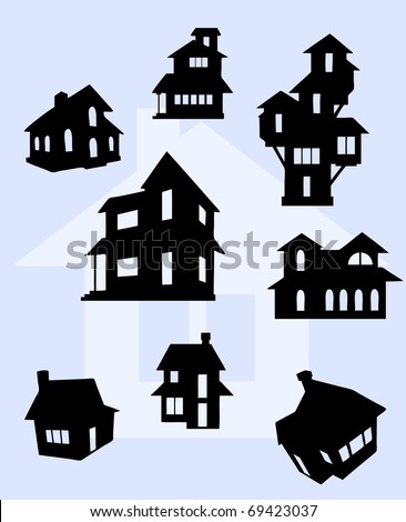 Illustration of house silhouettes in black - stock vector