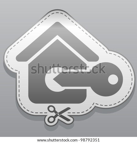 Illustration of house sticker icon - stock vector