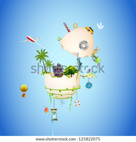 illustration of house with tree and statue of liberty in broken egg shell - stock vector
