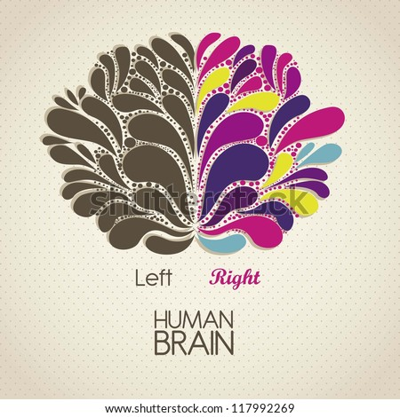 Illustration of human brain. Lobes and functions, vector illustration - stock vector