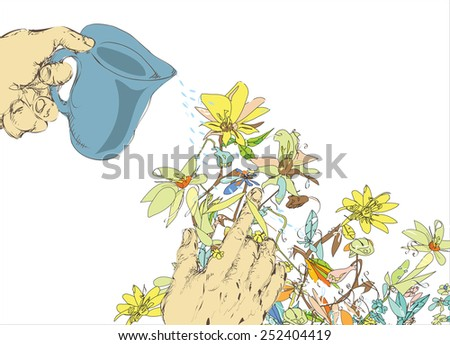 Illustration of human hands watering flowers, on white - stock vector