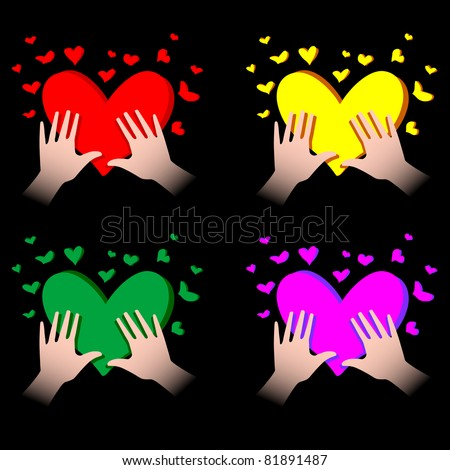 illustration of human hands with hearts in it - stock vector
