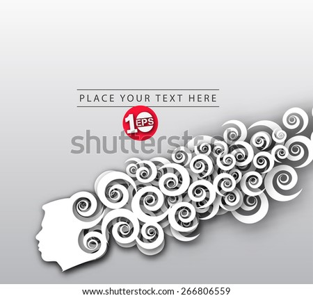 Illustration of human head silhouette with swirl design background. - stock vector