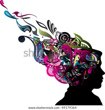 illustration of human head silhouette with swirl floral design, vector illustration - stock vector