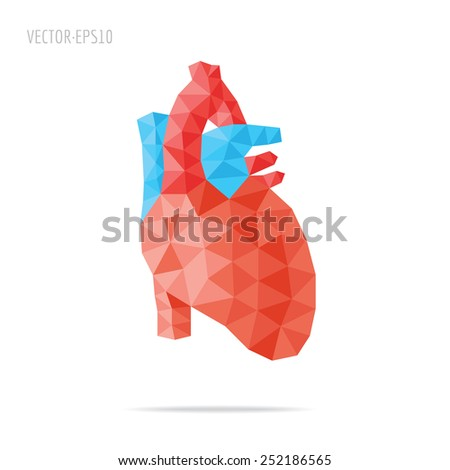 Illustration of human heart with faceted low-poly geometry effect - stock vector