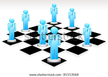 illustration of human icon standing on chess board - stock vector