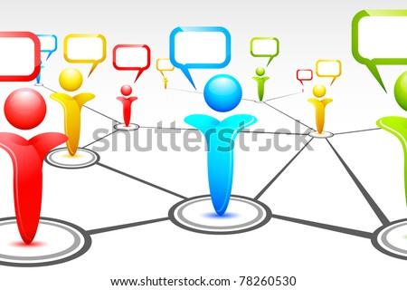 illustration of human icon with speech bubble forming human networking