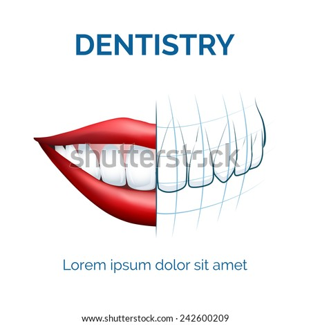 Illustration of human mouth, lips and teeth and dental tomography for your dentistry  logo etc - stock vector