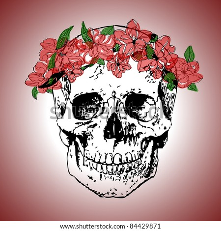 Illustration of  human scull with wreath on the head - stock vector