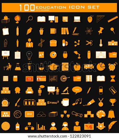 illustration of hundred clean Education icon set with shadow - stock vector
