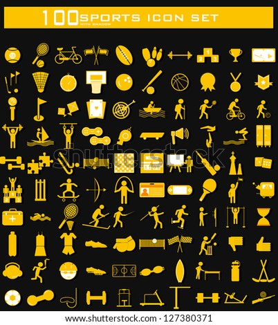 illustration of hundred clean Sports icon set with shadow - stock vector
